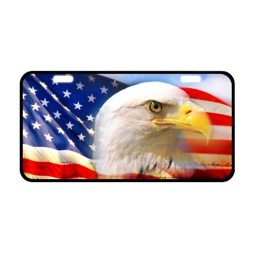 Bald Eagle American Flag Custom Metal License Plate for Car