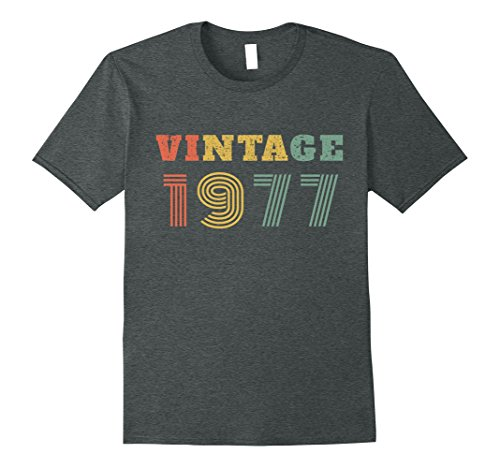 Mens 40th Vintage Retro Birthday Gift 1977 T-Shirt 2XL Dark Heather