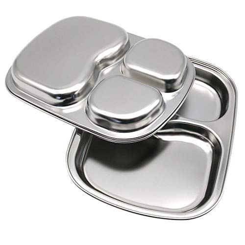 Stainless Steel Dinner Plate 3 Sections Divided Dish 9.05Inch / 23cm Round Snack Dinner Silver Plates 2Pcs (Silver Square)