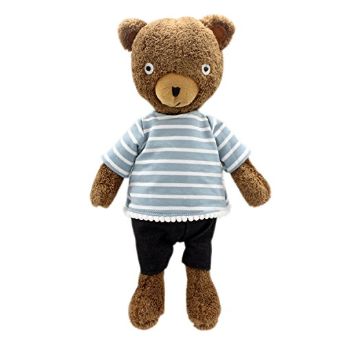 - JIARU Stuffed Animals Toys Teddy Bear Plush Dressed Dolls with Removable Clothes (Striped Brown-1, 14 Inch)
