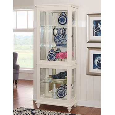Powell Whitehurst Collection 15A7052 29'' Large Curio with Decorative Molding Two Glass Shelves Turned Legs and Lighting in by Powell