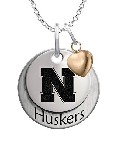 Nebraska Huskers Sterling Silver Stacked Mascot Necklace with Heart (Huskers Pendant Sterling Silver Jewelry)