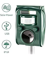 zonpor Cat Repellent, Ultrasonic Animal Repeller Solar Battery Operated Fox Deterrent Cat Scarer Repellent for Gardens