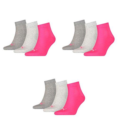 3 pair Puma Sport Socken Short Crew Tennis Socks Gr. 35 - 49 Unisex 656 - middle grey mélange/pink