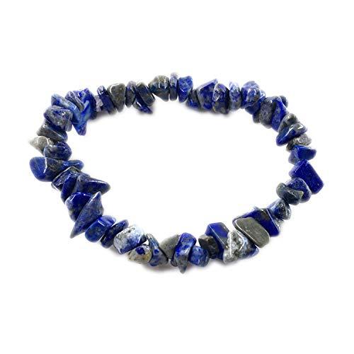 cengXY160h Irregular Natural Gem Stone Bracelet Stretch Chip Beads Nuggets Rose Crystal Quartz Bracelets Bangles for Women,Lapis Lazuli