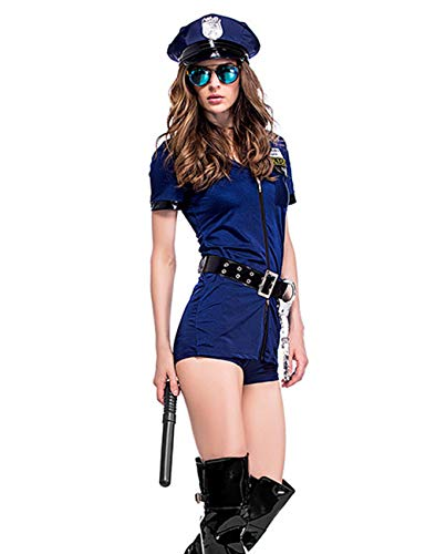 Charming House Women Sexy Officer Costume, Police Uniform, Detective Outfit with Handcuffs(Small/Medium) ()