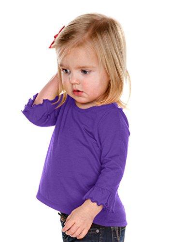 Kavio! Infants Girls Sheer Jersey Ruffled 3/4 Sleeve High Low Top Grape - Ruffled Cotton Jersey