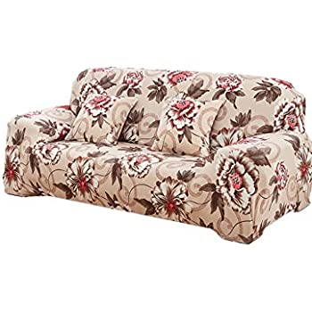 Perfect Elvoes Floral Printed Sofa Cover Anti Slip Elastic Slipcover Stretch  Polyester Fabric Soft Furniture Protector Couch Cover (Three  Seater(74u0027u0027 90u0027u0027), Peony)