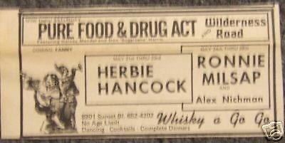 Herbie Hancock Jazz Concert Poster Handbill Newspaper Ad