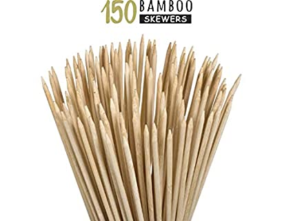 Kitchen Titans Bamboo Wooden skewers Stick for Oven-Perfect for Kabab,PaneerTikka,seekh,Barbeque and Grilling- 150 Sticks 8