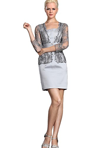Angel Formal Dresses Short Taffeta and Lace Mother Of The Bride Dress(22)