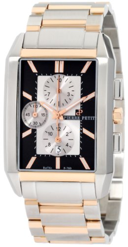 Pierre Petit Men's P-780D Serie Paris Rectangular Case Two-Tone Stainless-Steel Bracelet Chrono Watch
