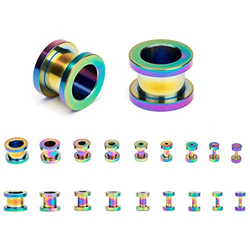HuayoRong 18PCS Ear Tunnels Stretching Kit Stainless Steel Screw Fit Gauge Plugs Double Flared Expander Set 14G-00G (Rainbow)