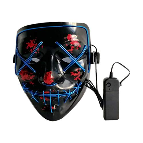 Lovhop Halloween Scary Glowing Mask Cosplay Led Costume Mask EL Wire Light Up for Festival Party,Dance Ball, Rave Cosplay -