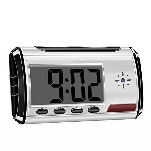MEAUOTOU Hidden Camera Alarm Clock 1080P HD Spy Camera Long Time Video Recording Security Camera Nanny Cam Silvery