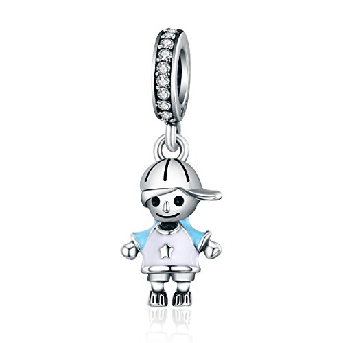 Everbling My Little Baby Girl Boy Brother Sister Family Love 925 Sterling Silver Bead for European Charm Bracelet (Little Boy Blue Enamel Dangle)
