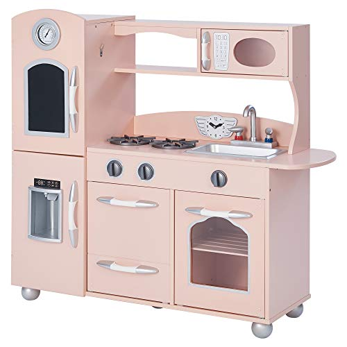 Teamson Kids - Retro Wooden Play Kitchen with Refrigerator, Freezer, Oven and Dishwasher - Pink (1 Pieces) (Pottery Toy Kitchen Barn)