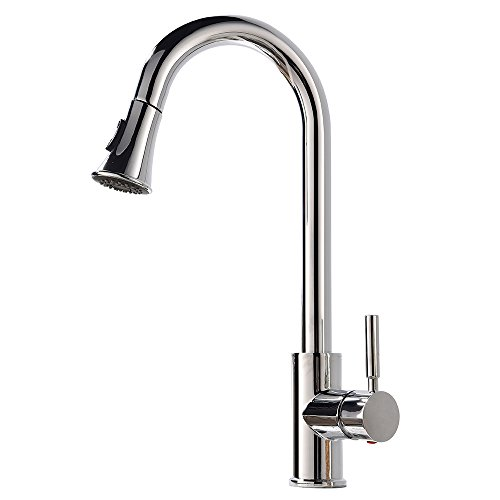 Modern Commercial Polished Chrome Stainless Steel Single Handle Pull Down Sprayer Kitchen Sink Faucet, Pull Out Kitchen Faucets (Chrome Commercial Single Handle)