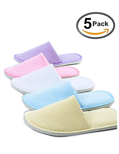 Eucoz 5 Pairs Waffle Spa Slippers Guest Slippers of Mix Colors,Closed Toe,Portable and Disposable by Eucoz
