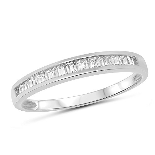 (14k White Gold Baguette Channel Set Stackable Anniversary Ring Wedding Band - Size 6)