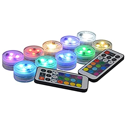 """Submersible LED Lights with Remote, Waterproof LED Tea Lights Candles, Super Bright Warm White RGB LED Lights for Party Events Vase Lantern Wedding Centerpieces Lighting, 1.5"""" Round cr2450 Battery"""