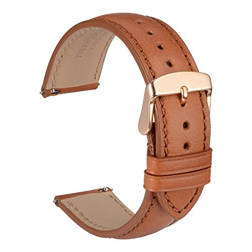 WOCCI 20mm Full Grain Leather Watch Band with Rose Gold Buckle, Quick Release Strap(Gold Brown with Tone on Tone - Watch Gold Iwc