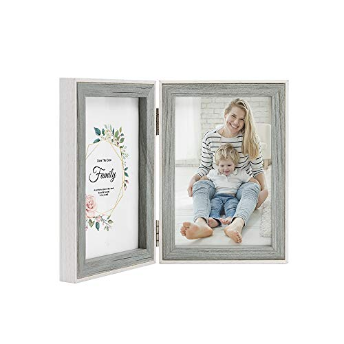 - Afuly Double Picture Frame 4x6 Inches Grey Wood Hinged Photo Frames Folding Vertical 2 Openings for Wedding Gifts Family