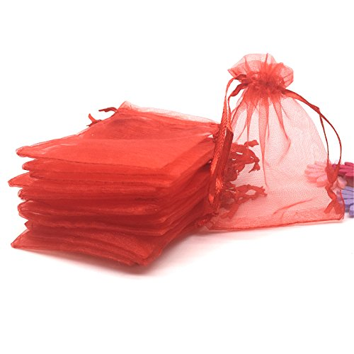 (YIJUE 100pcs 3x4 Inches Drawstrings Organza Gift Candy Bags Wedding Favors Bags (Red))