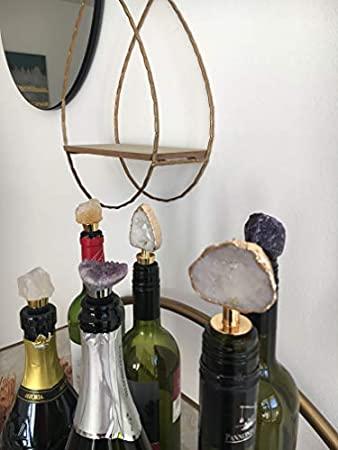 Beyond Tapón para botella de cristal de cuarzo blanco con borde dorado
