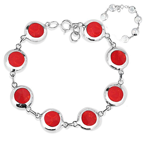 AeraVida Field of Circle Reconstructed Red Coral and Mother of Pearl .925 Sterling Silver Reversible Link Bracelet
