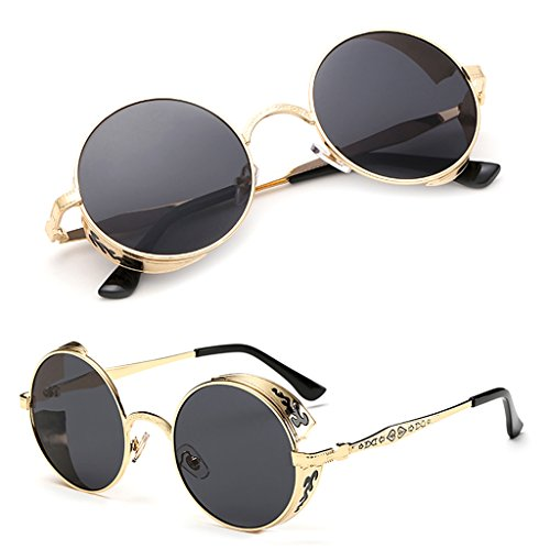 Itemap Vintage Polarized Steampunk Sunglasses Fashion Men Women Round Mirrored Eyewear - Round Face Shape Sunglass For