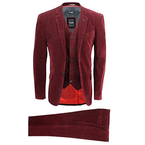 XPOSED Mens 3 Piece Maroon Corduroy Suit Vintage Smart Casual Tailored Fit Velvet Blazer Coat Set [ Wine/Marooon,Chest UK 52 EU 62,Trouser 46