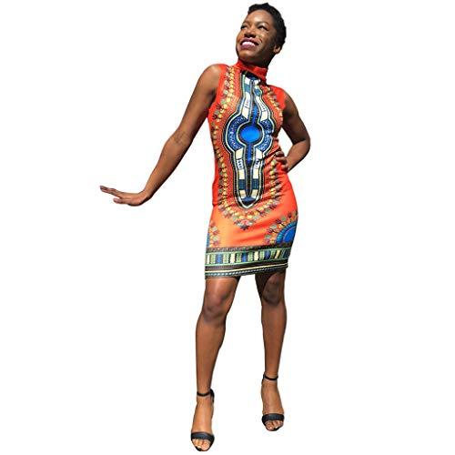 Aunimeifly Women's Summer Traditional African Print Sleeveless Turtleneck Dress Holiday Bohemian Knee Dress Orange ()