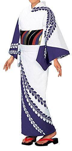 受け入れるバーストカメ踊り衣裳 反物 大印 本絵羽ゆかた 白×紫 メンズ レディース
