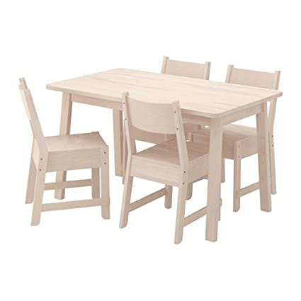 Amazon Com Ikea Table And 4 Chairs White Birch White