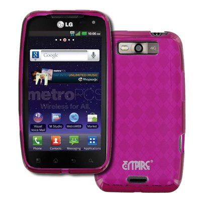 EMPIRE LG Connect 4G MS840 Poly Skin Case Cover (Hot Pink Diamond Pattern) + Car Windshield Mounts + Car Charger [EMPIRE Packaging]
