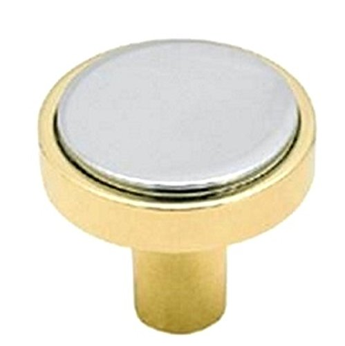 Advantage Solid Brass Knob (Amerock BP1439-326 Advantage Solid Brass Knob, With chrome Insert, Solid Brass , 1-1/4