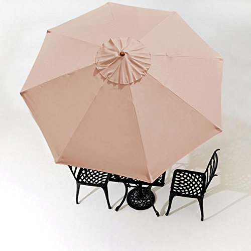 Amazon.com  9 Feet Polyester 8-rib Structure Umbrella Replacement Canopy Tan for Outdoor Patio Cover Top Furniture Beach Market Stall UV Protection Rain ... & Amazon.com : 9 Feet Polyester 8-rib Structure Umbrella Replacement ...