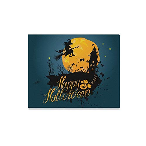 (Wall Art Painting Halloween Night Silhouette Witch Cat FlyingPrints On Canvas The Picture Landscape Pictures Oil for Home Modern Decoration Print Decor for Living)