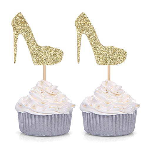 Pack of 24 Gold Glitter High Heel Cupcake Toppers for Wedding Engagement Bridal Shower Party Stiletto Pump Decorations (Gold High Heel Cake Topper)