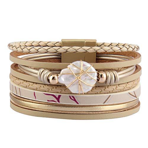 AZORA Ladies Leather Wrap Bracelets Multi Strands Cuff Bracelet Baroque Pearl Boho Bracelets Handmade Bohemian Jewelry Gifts for Women Teens Girl Daughter, Sister