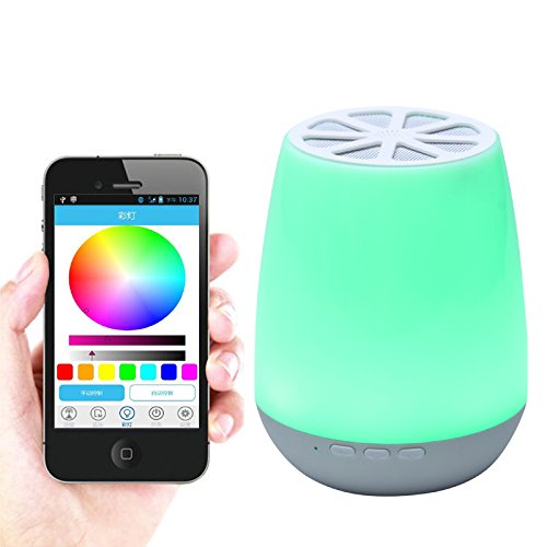 Smart App Control LED Bluetooth Speaker ,HJD Light Night Lamp Colorful Night Lights Hands Free Alarm Clock App Control for Home, Spa, Bedroom, Office by HJD LIght (Image #1)