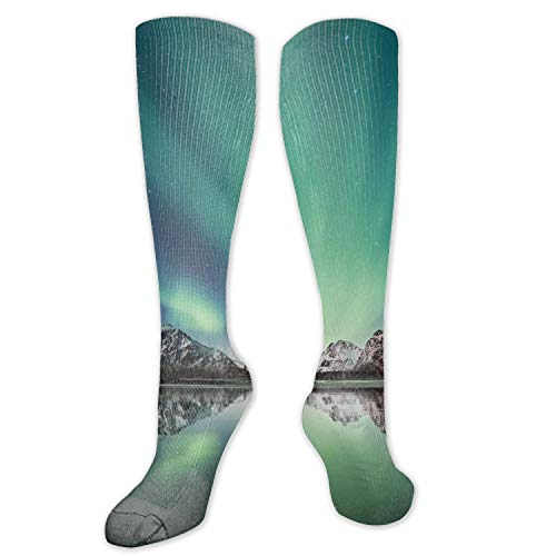 Northern Reflections - Compression Socks for Men & Women Northern Lights Mountains Snow Reflection Compression Stockings for Runners, Edema