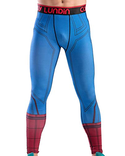 Red Plume Men's Compression Tights Baselayer Cool Dry Sports Tight Running Leggings Spider Printing Pants (XL, Spider) ()
