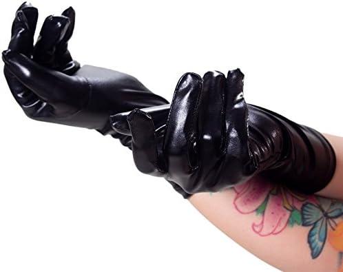 Rubberfashion korte wetlook handschoenen glanzende handschoenen tot over de pols met gecoat oppervlak voor vrouwen en heren hoeveelheid 1 paar