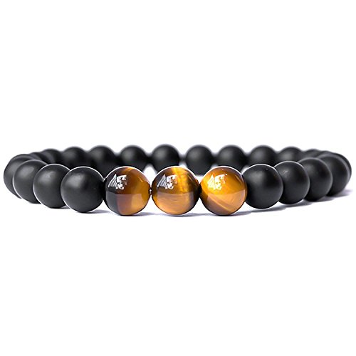 SX Commerce Real Natural Matte Black Onyx Stone Bead Bracelet with Unique Tiger Eyes - Fashion Jewelry for Unisex-Adult Size 8mm 26grain (Black ()