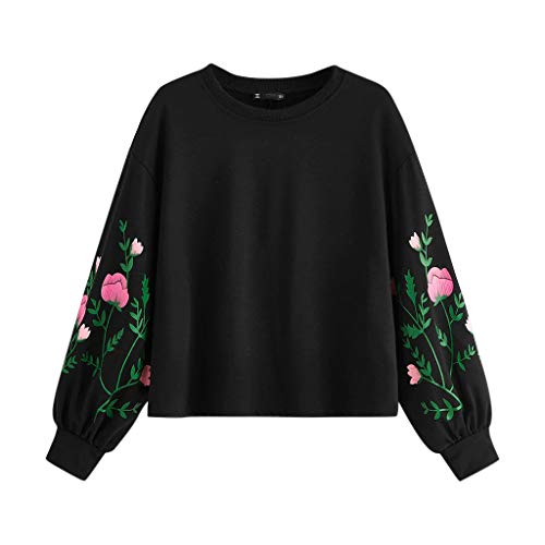Excursion Clothing Women Casual Floral Print Long Sleeves Tops, Autumn Daily Solid Color O-Neck Hoodie Shirt Pullover Comfy Blouse Sweatshirt (Fossil Women Hat)