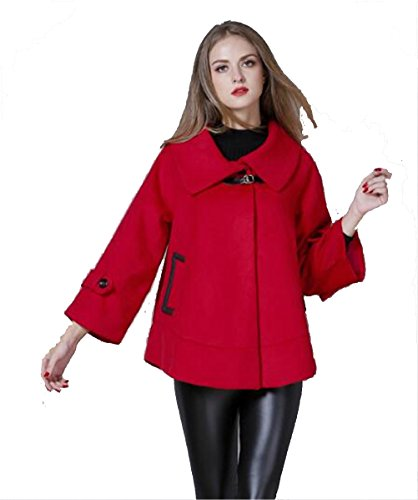 GAMT Women's New Winter Loose Large Size Wool Cloak Coat Red XL - Tan Wool Tweed