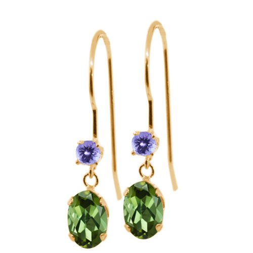 Gem Stone King 0.96 Ct Oval Green Tourmaline Blue Tanzanite 14K Yellow Gold ()