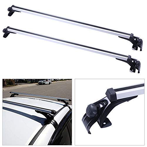 cciyu Universal Adjustable Aluminum Roof Rack Cross Bar Car Top Luggage Carrier Rails w/3 Kinds Clamp Fit for 2006-2017 Ford Focus/Fusion/Mustang Honda Civic Hyundai Elantra